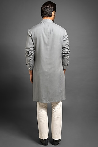 Grey Pick Stitch Kurta by Mitesh Lodha
