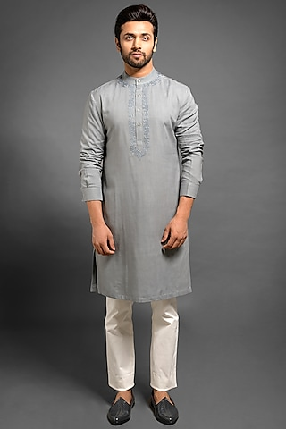 Grey Embroidered Kurta by Mitesh Lodha