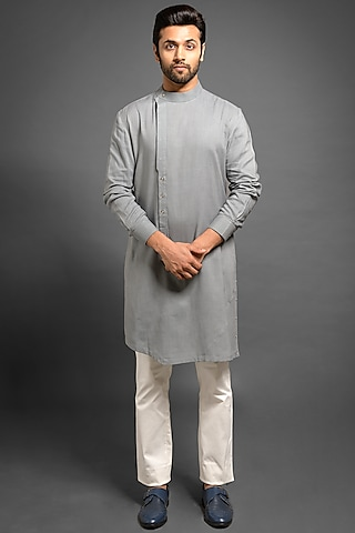Grey Pintucked Asymmetric Kurta by Mitesh Lodha