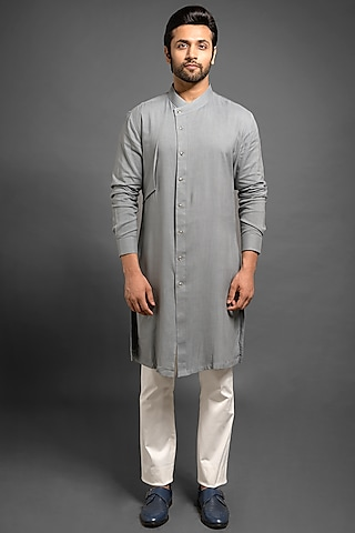 Grey Shifted Kurta With Small Flap by Mitesh Lodha