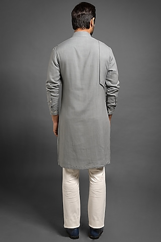 Grey Shifted Kurta With Small Flap by Mitesh Lodha