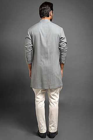 Grey Viscose Short Kurta by Mitesh Lodha
