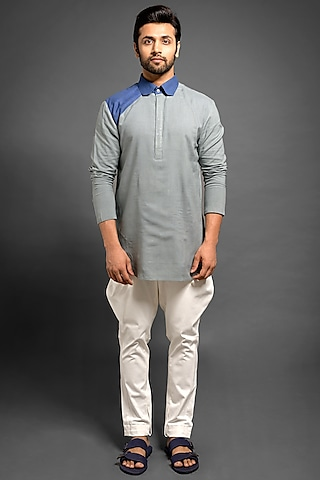 Grey & Blue Pintuck Kurta by Mitesh Lodha