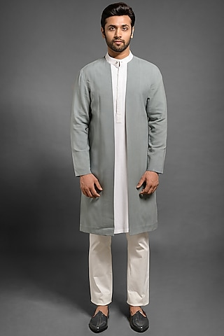 Grey Open Style Layered Jacket by Mitesh Lodha