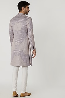 Lilac Viscose Embroidered Sherwani by Mitesh Lodha