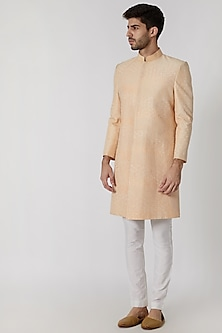 Peach Dupion Embroidered Sherwani by Mitesh Lodha