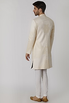 Cream Viscose Embroidered Sherwani by Mitesh Lodha