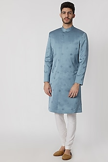 Petrol Blue Embroidered Sherwani by Mitesh Lodha