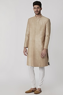 Golden Beige Embroidered Sherwani by Mitesh Lodha