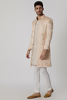 Pastel Pink Open Style Embroidered Sherwani by Mitesh Lodha