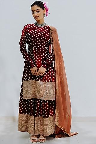 Sangria Red Handloom Sharara Set by Mimamsaa