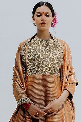 Rust Orange Embroidered Sharara Set by Mimamsaa