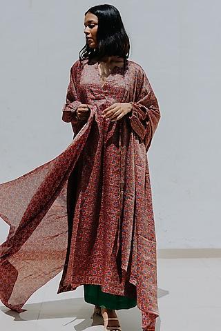 Magenta Printed Oversized Kurta Set by Mimamsaa