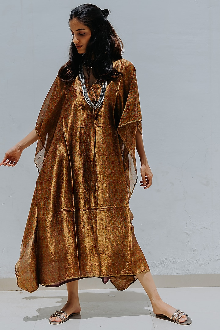 Gold Printed Kaftan With Inner by Mimamsaa
