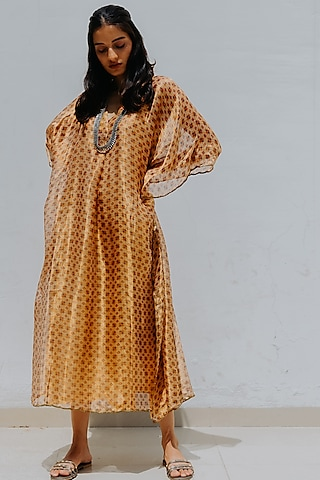 Ivory Gold Printed Kaftan With Inner by Mimamsaa
