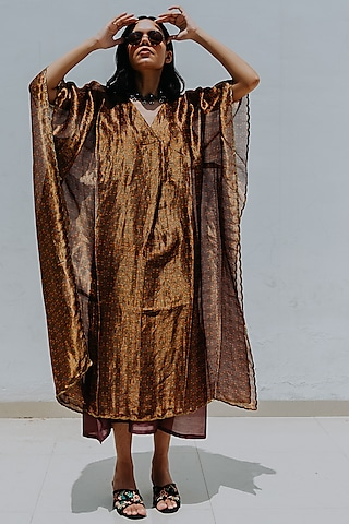 Antique Gold Printed Kaftan With Inner by Mimamsaa