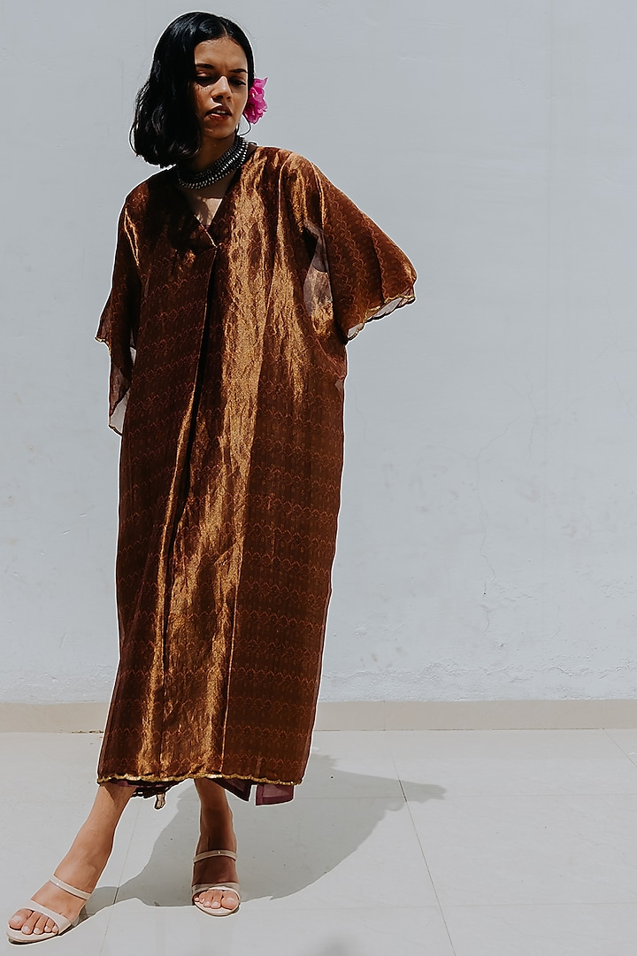 Rose Gold Printed Kaftan With Inner by Mimamsaa