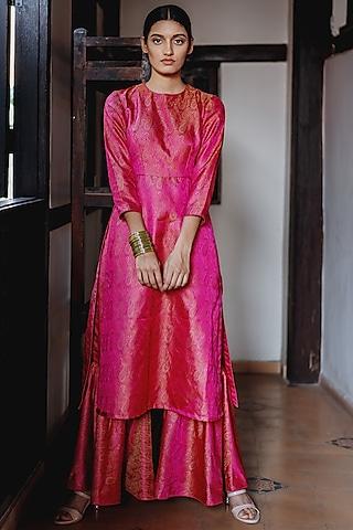 Magenta Pink Handloom Gharara Set by Mimamsaa