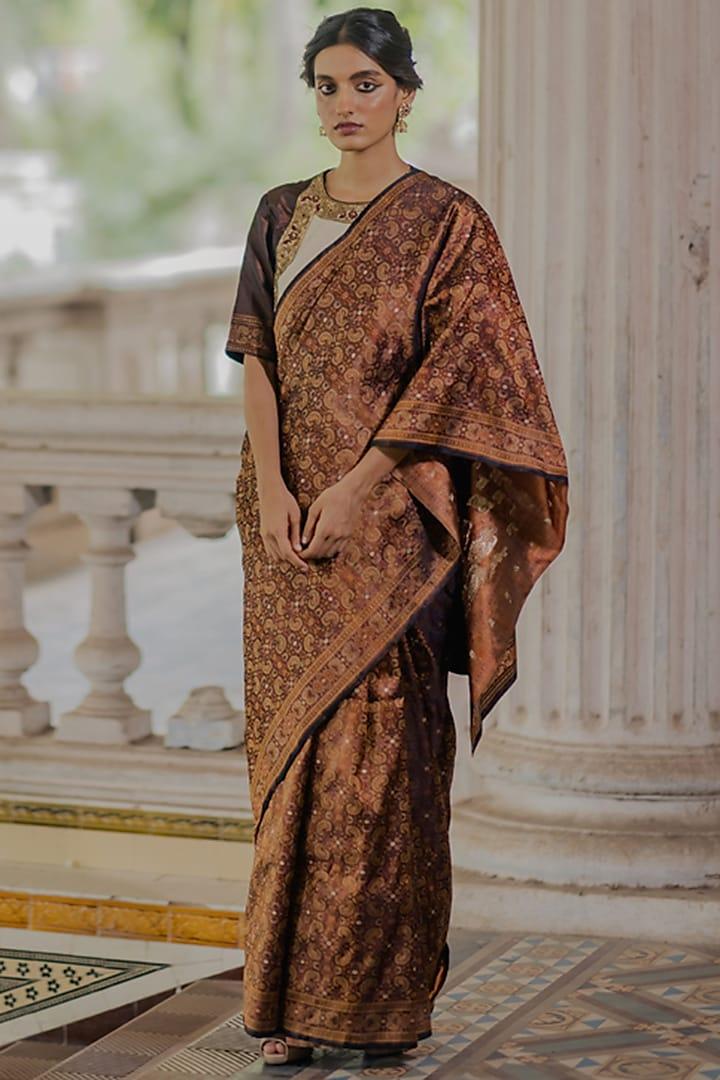 Bronze Handwoven Silk Tanchui Saree Set by Mimamsaa