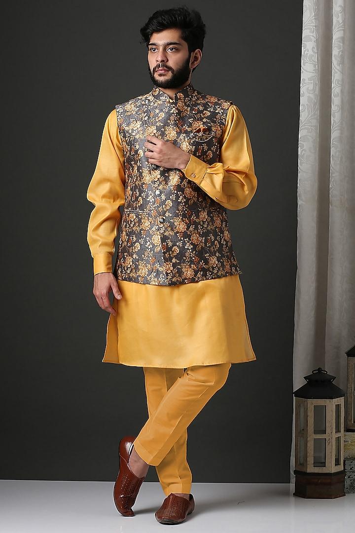 Yellow Kurta Set With Floral Nehru Jacket by Minaki Men
