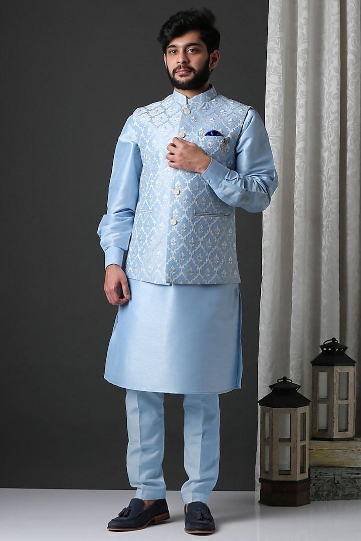 Blue Kurta Set With Embroidered Nehru Jacket by Minaki Men
