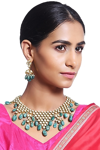 Gold Plated Emerald Necklace Set by Minaki