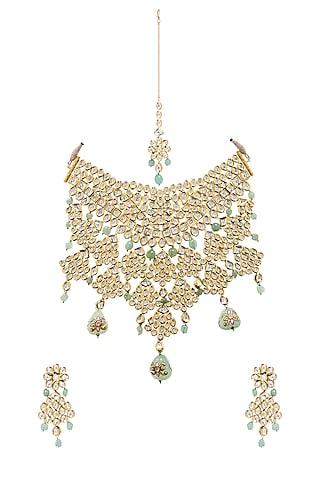Gold Plated Aventurine Necklace Set by Minaki