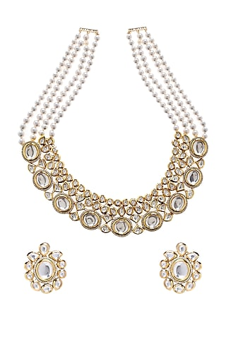 Gold Plated Zircon Necklace Set by Minaki