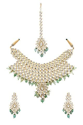Gold Plated Zircons Necklace Set by Minaki