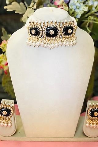 Gold Plated Kundan Polki & Pearl Choker Necklace Set by Minaki