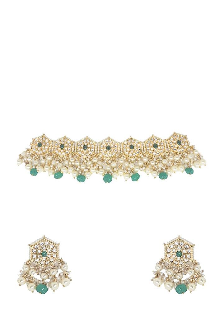 Gold Plated Kundan Polki & Emerald Stone Choker Necklace Set by Minaki