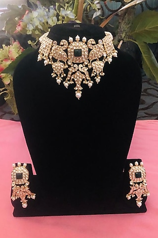 Gold Plated Handcrafted Kundan Polki Choker Necklace Set by Minaki