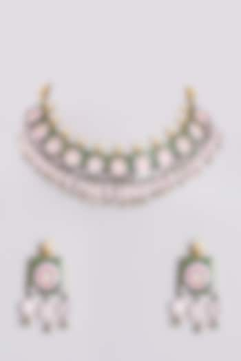 Gold Plated Necklace Set With Pink Beads by Minaki