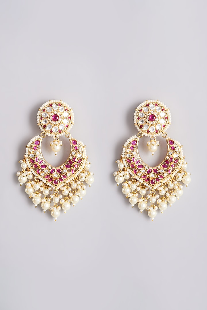 Gold Plated Dangler Earrings With Red Beads by Minaki