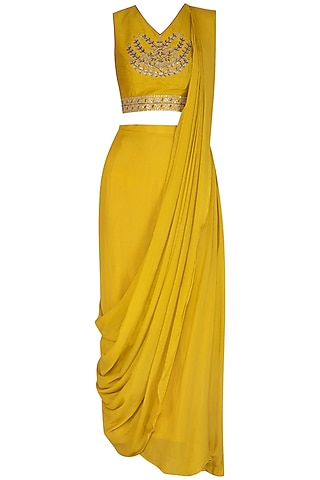 Mustard Embroidered Pre-Stitched Saree Set by Mint Blush