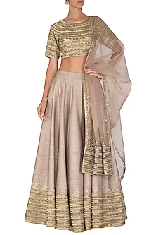 Grey Embroidered Lehenga Set by Mint Blush