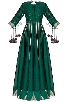 Bottle Green Gota Embroidered Anarkali With Dupatta by Mint Blush