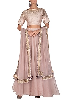 Rose Gold Embroidered Lehenga Set by Mint Blush