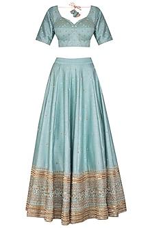 Blue Embroidered Lehenga Set by Mint Blush