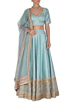 Blue Embroidered Lehenga Set by Mint Blush