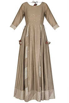Grey Embroidered Anarkali With Dupatta by Mint Blush