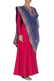 Magenta Pink Anarkali With Embroidered Dupatta by Mint Blush