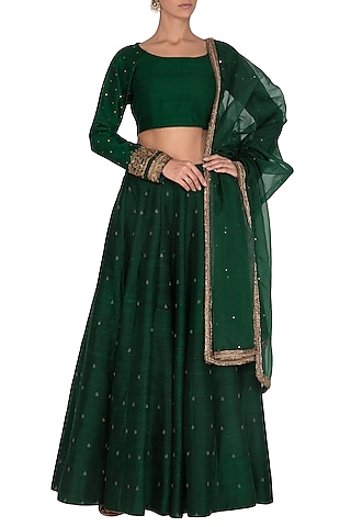 Dark Green Embroidered Lehenga Set by Mint Blush