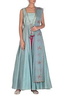 Soft Blue Embroidered Jacket Anarkali Set by Mint Blush
