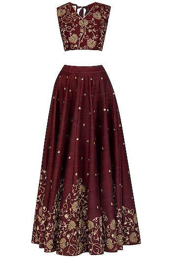 Wine Embroidered Lehenga Set by Mint Blush