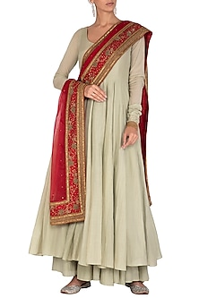 Soft Green Anarkali Kurta With Skirt & Embroidered Dupatta by Mint Blush