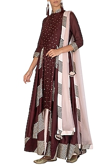 Wine & Peach Anarkali Set by Mint Blush