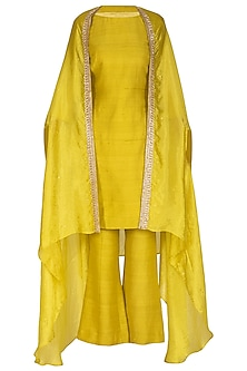 Deep Yellow Embroidered Kurta Set by Mint Blush