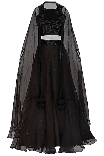 Black Embroidered Lehenga Set by Mint Blush