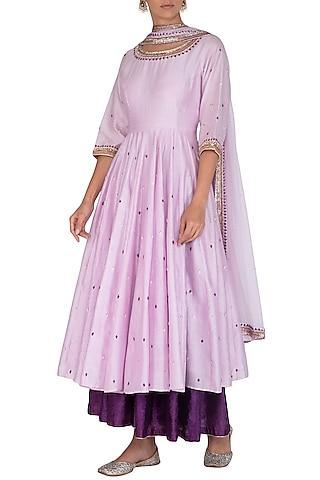 Purple Embroidered Anarkali Set by Mint Blush